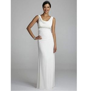 NWT db Studio cowl neck/beaded detail gown, Sz 12
